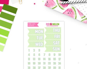 SPRING FLORAL Date Add-On Weekly Planner Stickers  for Erin Condren Life Planner | WPO51-AOD
