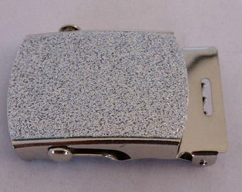 SILVER GLITTER on nickel finish Military Buckle and tip to suit 32mm wide webbing x 1
