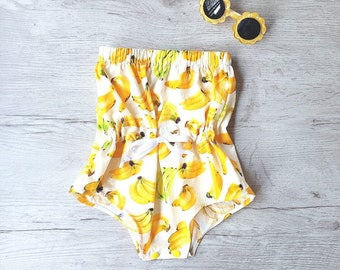 Girl Summer romper, Baby romper, Girls, Bubble romper, Playsuit, banana print, Girls Summer Outfit, Handmade Baby, Sunsuit, off the shoulder