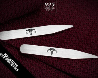 Doctor gift - Doctor collar stays engraved - Personalized collar stays in 925 sterling silver