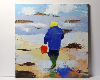 On the beach 3, Knife painting, Seascape painting, original acrylic painting, small painting