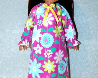"""Nightgown for 14"""" Wellie Wishers or Melissa & Doug Doll Clothes pink flower tkct1092 READY TO SHIP"""