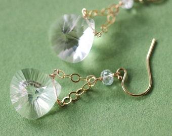 Rock Crystal Earrings Gold Filled, Transparent Earring, Wire Wrapped Gemstone Earrings, Teardrop Minimalist Earrings Everyday Small Earring