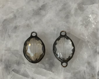 """Soldered Crystal Pendant Connector, 1"""" Oval, Champagne or Clear, Crystal Prism, Handmade"""