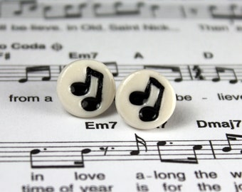 Music Note Earrings Handmade Porcelain Ceramic Jewelry