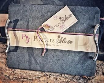 Platters Slate - Rectangular Medium Slate Handled Tray   30x22cm   The  Perfect Gift