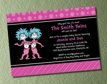 Dr Seuss Thing 1 Thing 2 - Twins Baby Shower Invitations and Envelopes - Either Pink or Blue