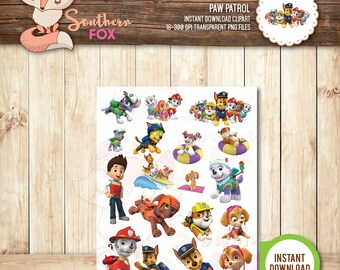 Paw Patrol Clipart-Instant Download 18 Files-Paw Patrol Clip Art Transparent PNG Files, Paw Patrol, Paw Patrol Clip Art, Paw Patrol Graphics
