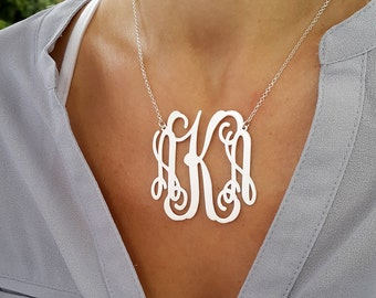 Large Monogram necklace - 2 inch Personalized Monogram - 925 Sterling Silver Personalized Jewelry