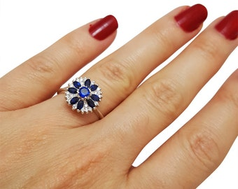 Unique Engagement Ring, Sapphire Engagement Ring, Vintage, Sapphire and Diamond Ring, Sapphire Flower Ring, Fast Free Shipping