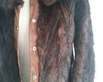 vintage leather /fur 70s jacket