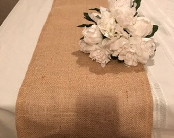 Burlap table runner,weddings,home decor