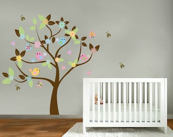 wall decals- Vinyl tree decal- Nursery tree- Bird decals- Flower tree