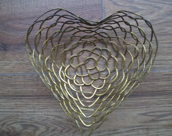 Vintage heart shaped wire basket