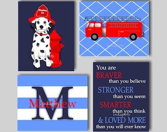 Fire Truck Nursery Art - Fire Engine Nursery Art - Fireman Art - Fire Truck Decor - Emergency Vehicle Decor - Baby Boy Nursery Art - TREM04