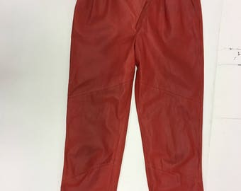 Vintage Red Leather Trousers-Skinny Leg  High Waist Pants -soft Leather-Punk- eighties -Cowboys- Rockabilly -  S/M 28 Waist