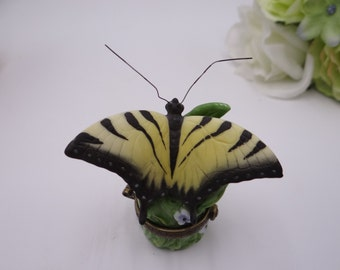 Vintage Yellow Swallowtail Butterfly Trinket Box or Pill Box Ring Box