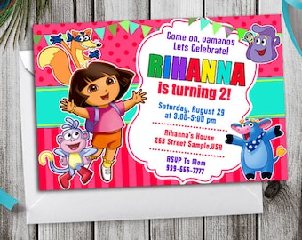 Dora The Explorer Invitation, Dora The Explorer Birthday Invitation, Dora The Explorer Birthday Party, Dora The Explorer Birthday, Dora Card