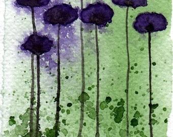 Watercolor Painting: Watercolor Flower Painting -- Mini Art Print -- Break Away -- Purple Flowers  -- ACEO Print