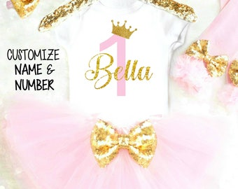 1st Birthday Girl Outfit Pink Tutu Birthday Outfit 1st Birthday Outfits Personalized First Birthday Outfit Pink and Gold Cake Smash 19