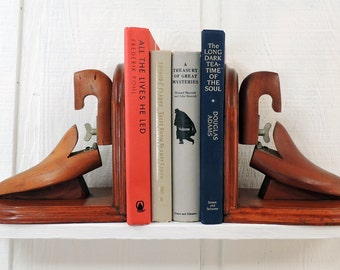 Vintage Wooden Shoe Forms Bookends Architectural