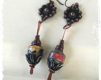 Hippie Boho Earrings, Copper Gypsy Earrings, Goth Earrings Floral, Hippy Earrings for Women, Long Bohemian Statement Earrings