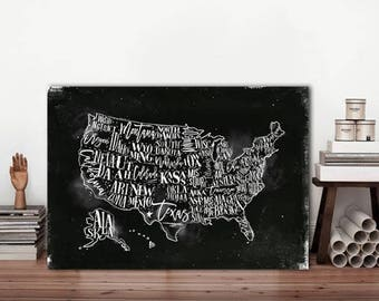 Map of states, USA metal sign, Custom metal gift, Custom sign, American sign, Sign map, Metal Art prints, Unated States sign, USA Map sign