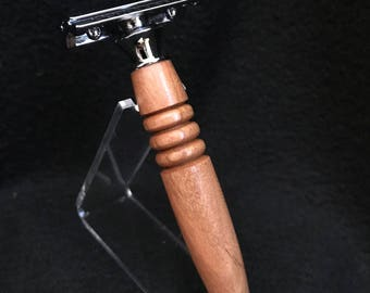 Safety Razor made from Cherry with a chrome finish