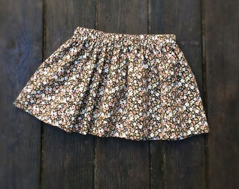 Toddler girl's skirt 2T, 3T, 4-5 years cotton corduroy fine wale corduroy floral print pink brown cream blue