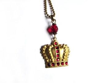 Red crown necklace - brass - swarovski crystal