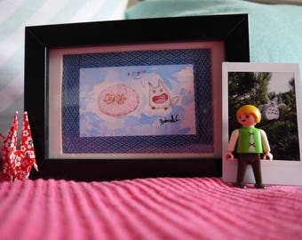Chibi Totoro yum a Japanese pastry, original watercolor print