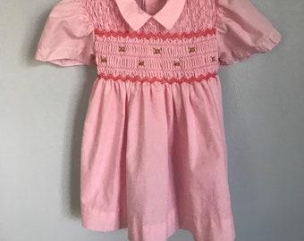 Vintage Smocked Pink Floral Dress 18 Months