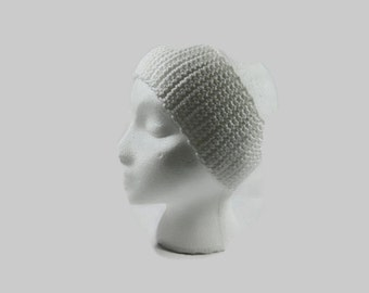 White Crochet Cotton Ear Warmer One Size Fits Most