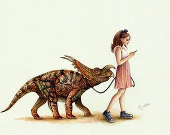 A Morning Walk Art Print, Dinosaur Art, Whimsical, Modern Girl's Bedroom Art, Bedroom Decor, Watercolor Print, Gift
