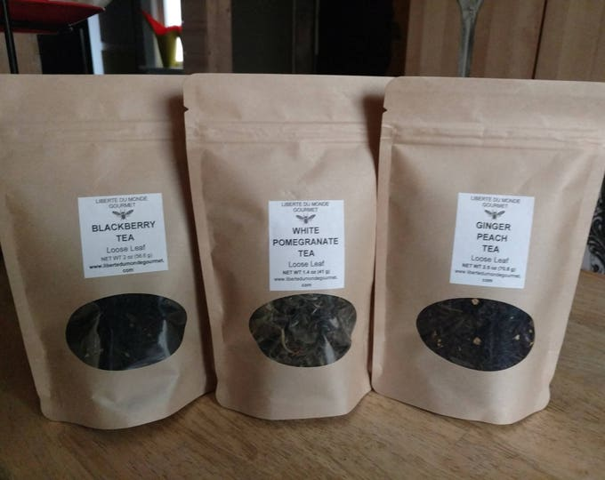 Green, Black or White Loose Leaf Tea into 8 oz Resealable Pouch