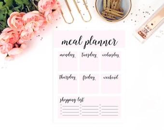 Filofax A5 Planner Binder, Weekly Menu Printable, Shopping List, Weekly Meal Planner, Grocery List, Meal Planning, Meal Planner Printable,