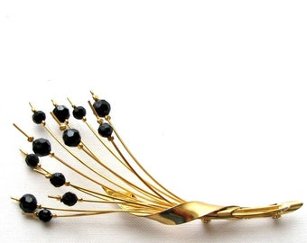 vintage modernist wire spray brooch, black and gold . abstract minimalist flower pin