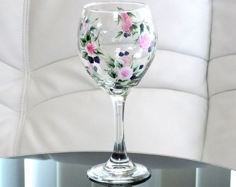 Hand Painted Wine Glass Blackberries Pink Flowers Green Leaves Hand Painted Glassware Stemware Hand Painted Wine Glasses Painted Glass
