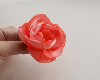 Double Satin Flower Hair Clip/silk ribbon flower /flower bag pin/floral brooch/wedding accessories/Bridesmaid Hair Clip