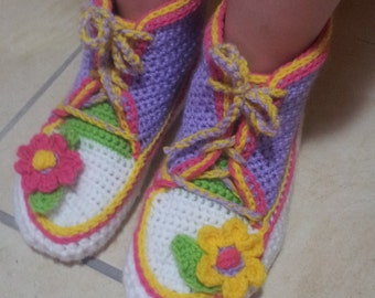 Adult Gym Boots Slippers crochet pattern in English only