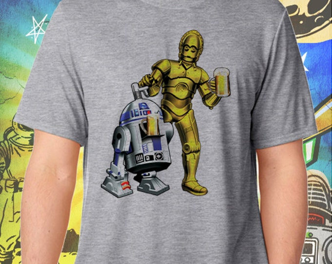 Star Wars / R2D2 and C3PO / Men's Gray Performance T-Shirt