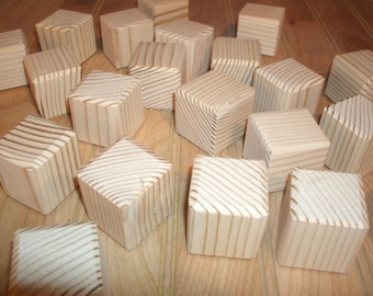 "50 unfinished wood blocks, wood baby blocks  - 1 1/2"" square, wood alphabet blocks, wood craft blocks, baby shower activity"