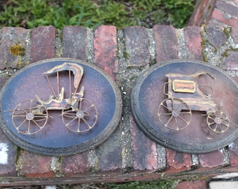 Two Vintage Wooden Wall Hangings -Metal sculpted Antique Cars
