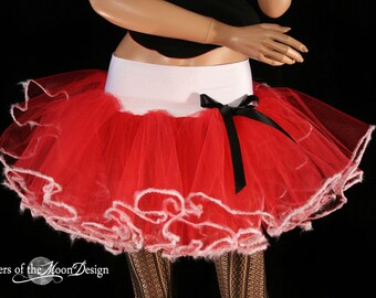 Santa Sweetie adult tutu skirt red white extra poofy Holiday christmas gift dance party petticoat -- You Choose Size -- Sisters of the Moon