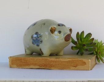 Vintage Folk Art Pig Figurine - El Palomar Mexico Pottery Stoneware Signed