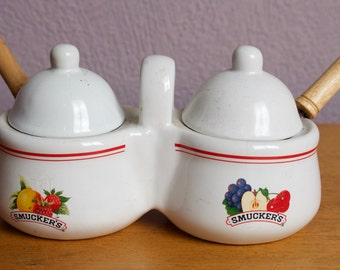 Vintage Smuckers Condiment set with Spoons || Jam / Jelly Serving Set