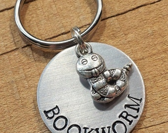 Bookworm - Bookworm Keychain - Literary Gift - Readers Keyring - Gift for Readers - Bookworm Keyring - Literary Key Ring - Book Lover