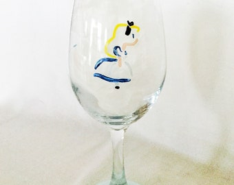 Painted 'Alice' Wine Glass
