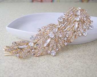 Giant Hair Comb - Rhinestones with Rose Gold Tone Setting - Bride or Bridesmaid Accessory - French Chignon - Free Shipping