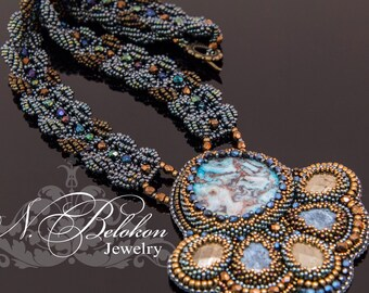 Denim necklace. In the work of lace agate, dumortierite, pyrite beads.